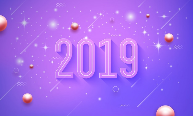 Felice anno nuovo 2019 su uno sfondo viola