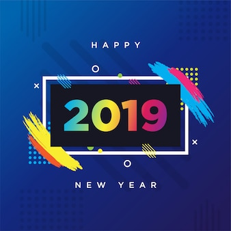 Felice anno nuovo 2019 tema della carta. cornice di sfondo vettoriale per il testo grafica di arte moderna per hipsters.
