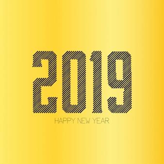 Felice anno nuovo 2019 tipografia con design creativo vettoriale