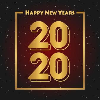 Felice anno nuovo 2020 auguri colore gradazione rosso nero