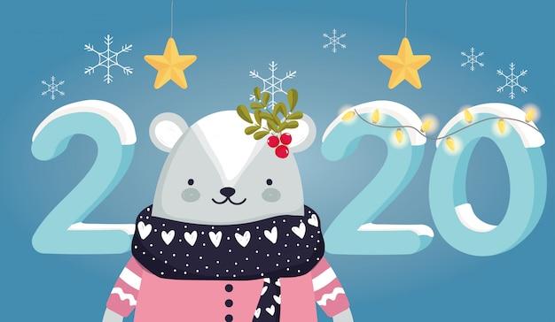 Felice anno nuovo 2020 celebrazione orso carino con stelle maglione sciarpa di neve