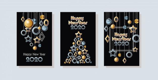 Felice anno nuovo 2020 celebrazione set carte
