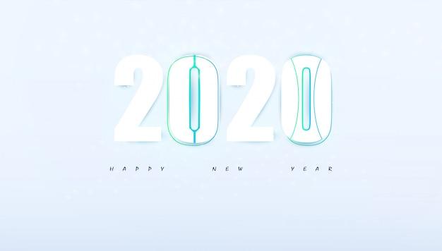 Felice anno nuovo 2020 ciao tech astratto moderno