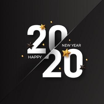 Felice anno nuovo 2020 con decorazione a stella dorata