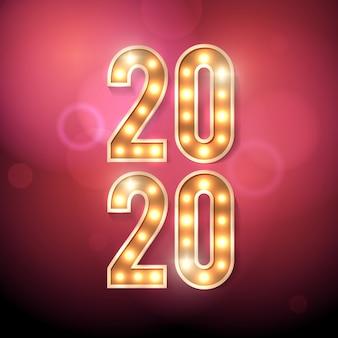 Felice anno nuovo 2020 con lampadina a tendone