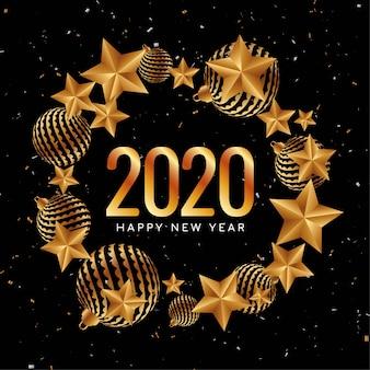 Felice anno nuovo 2020 decorativo dorato
