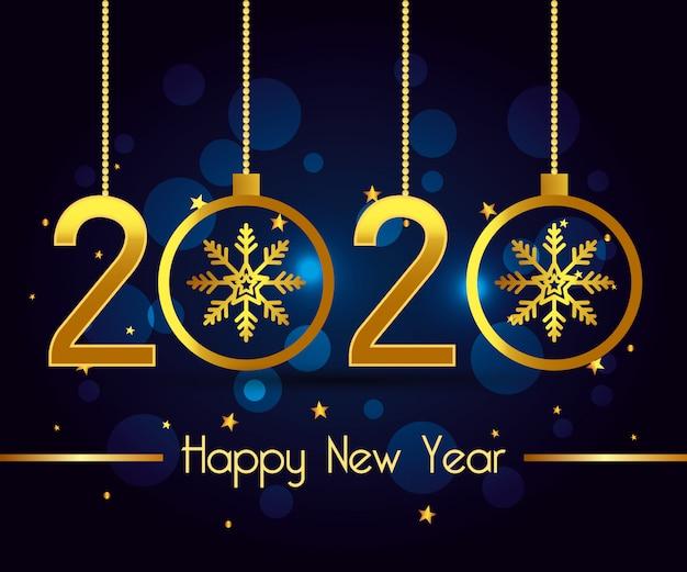 Felice anno nuovo 2020 disegno vettoriale