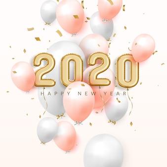 Felice anno nuovo 2020 festeggia lo sfondo, palloncini in lamina d'oro con numeri e coriandoli