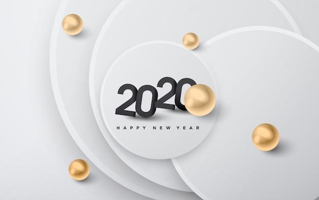 Felice anno nuovo 2020, granuli d'oro e sfondo di numeri neri