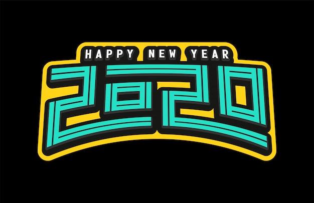 Felice anno nuovo 2020 in stile retrò
