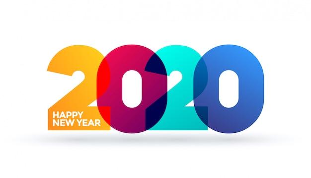 Felice anno nuovo 2020 logo design del testo. modello di progettazione, carta, banner, flyer, web, poster. colori brillanti colorati vibranti sfumati su sfondo bianco.