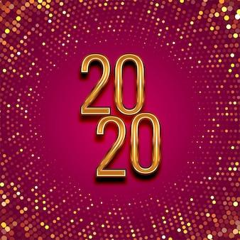 Felice anno nuovo 2020 oro testo per luccichi punteggiato