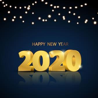 Felice anno nuovo 2020. progettazione di biglietti d'auguri