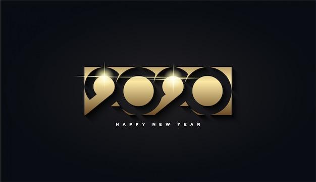 Felice anno nuovo 2020, rettangolo dorato con lo sfondo numero 2020