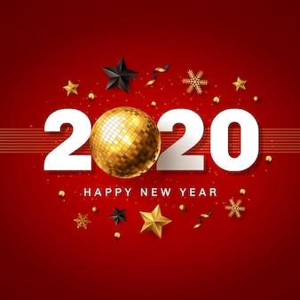 Felice anno nuovo 2020 rosso e dorato