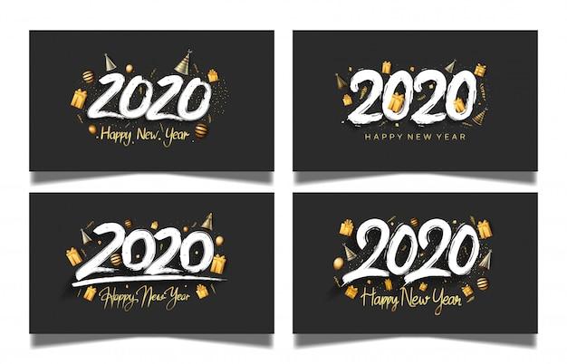 Felice anno nuovo 2020 set con sfondo di colore nero