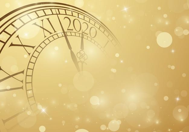 Felice anno nuovo 2020 sfondo con orologio