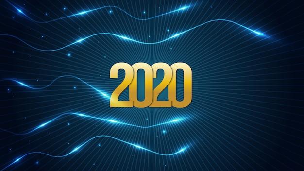 Felice anno nuovo 2020 sfondo futuristico con numeri d'oro