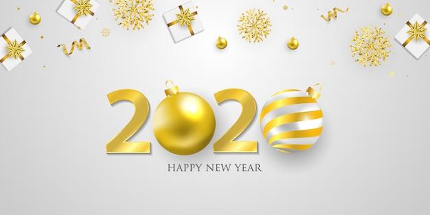 Felice anno nuovo 2020 sullo sfondo. modello di biglietto d'auguri coriandoli d'oro. festeggia brochure o volantini.