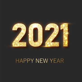 Felice anno nuovo 2021 banner.golden lusso testo 2021 felice anno nuovo. oro numeri festivi design. banner di felice anno nuovo con numeri 2021