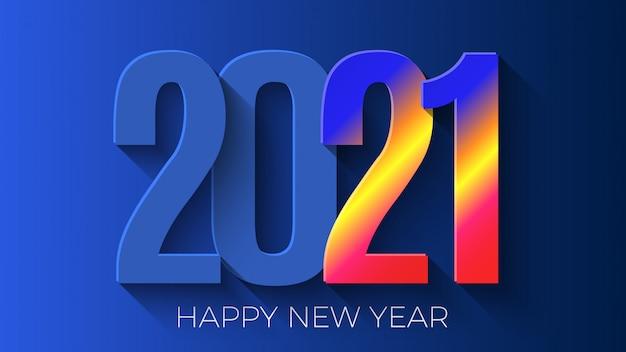 Felice anno nuovo 2021. disegno di biglietto di auguri.