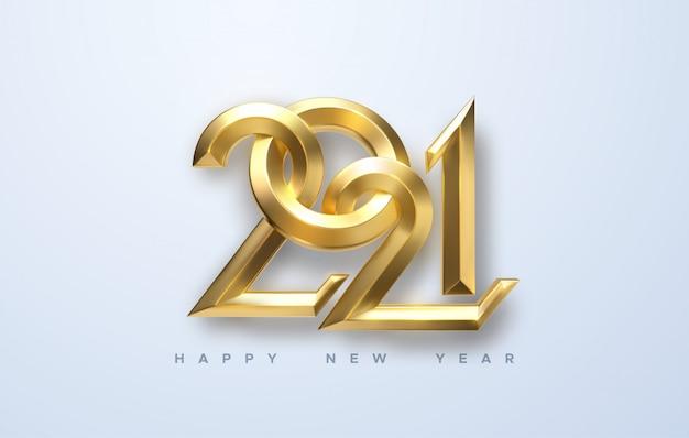 Felice anno nuovo 2021. illustrazione di festa di numeri calligrafici metallici dorati 2021.