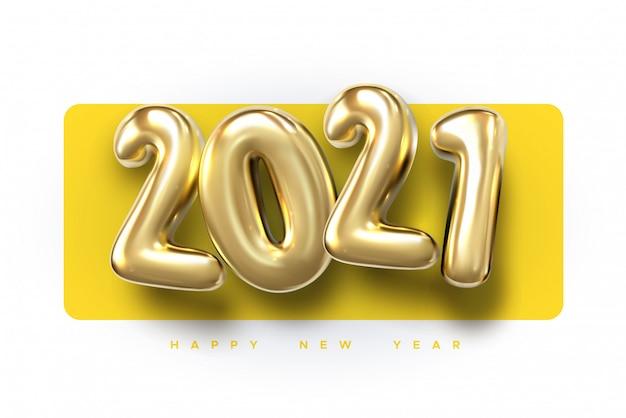 Felice anno nuovo 2021. sfondo realistico palloncini dorati.