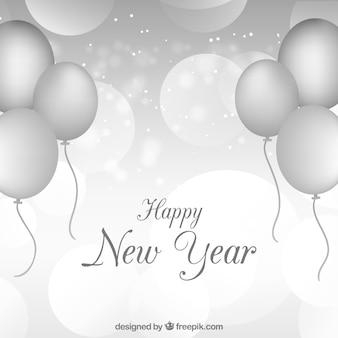 Felice anno nuovo argento con palloncini d'argento