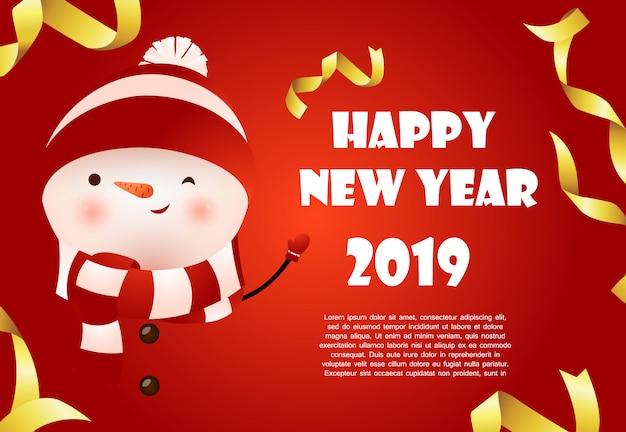 Felice anno nuovo banner design rosso con pupazzo di neve carino e testo di esempio