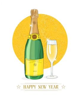 Felice anno nuovo. bicchiere di champagne e bottiglia