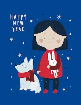 Felice anno nuovo, biglietto di auguri festivo di natale con bambina carina e cane