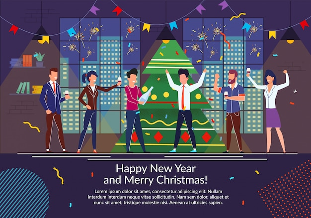 Felice anno nuovo, buon natale piatto vettoriale illustrazione e modello di testo