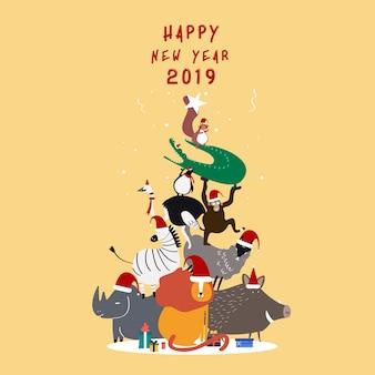 Felice anno nuovo cartolina 2019 vettoriale