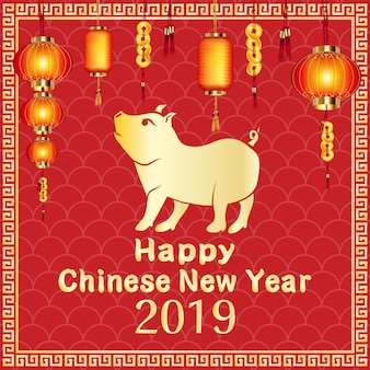 Felice anno nuovo cinese 2019 anno di maiale