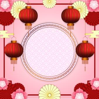 Felice anno nuovo cinese con 3d appeso lanterna rossa con fiore fioritura e cerchio modello dorato