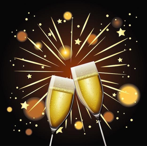 Felice anno nuovo con due bicchieri di champagne