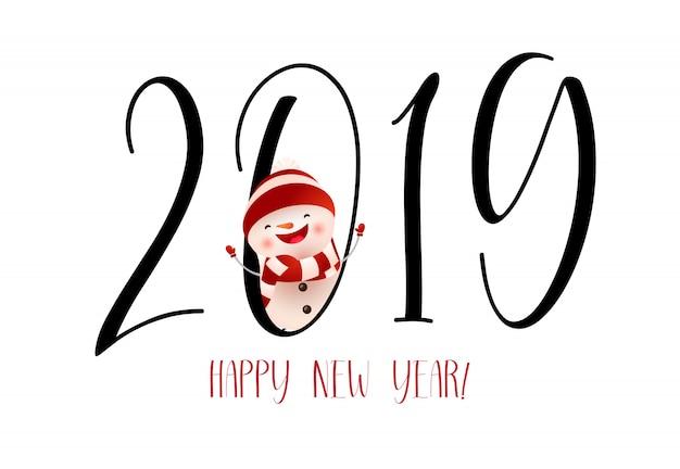 Felice anno nuovo con ridendo disegno della bandiera del pupazzo di neve