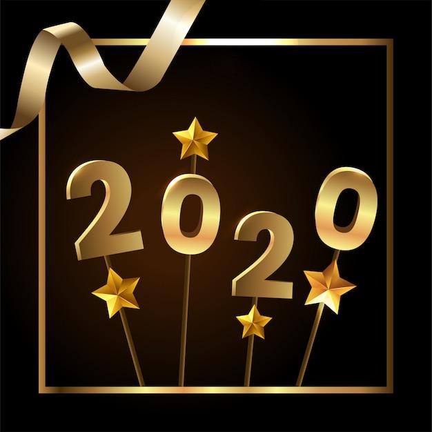Felice anno nuovo con stelle d'oro