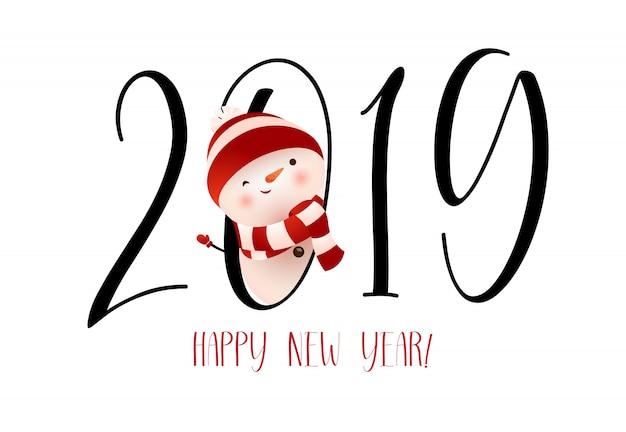 Felice anno nuovo con striscione disegno banner pupazzo di neve