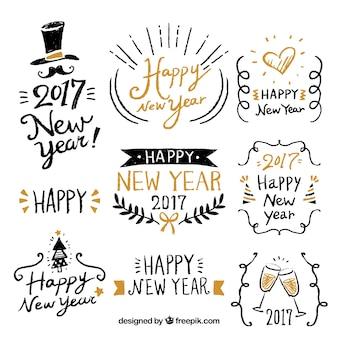 Felice anno nuovo con una fantastica etichette disegnate a mano