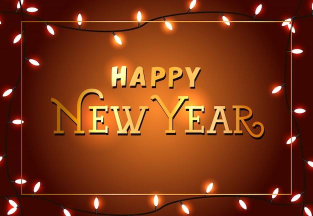 Felice anno nuovo design manifesto festoso. luci di natale