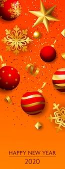 Felice anno nuovo duemila venti scritte con le palle