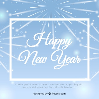 Felice anno nuovo fuochi d'artificio sfondo