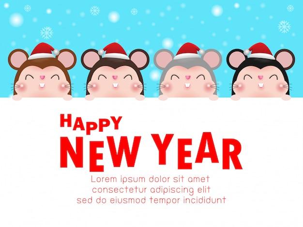 Felice anno nuovo, gruppo piccolo ratto con grande insegna.