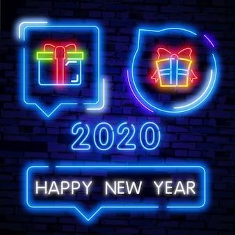 Felice anno nuovo insegna al neon testo