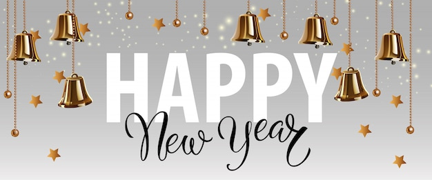 Felice anno nuovo lettering con campane d'oro
