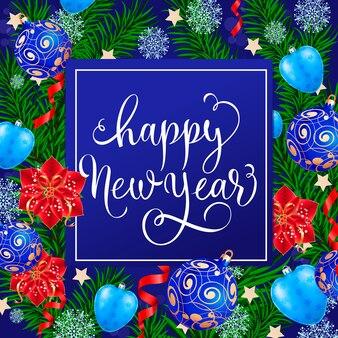 Felice anno nuovo lettering con giocattoli albero