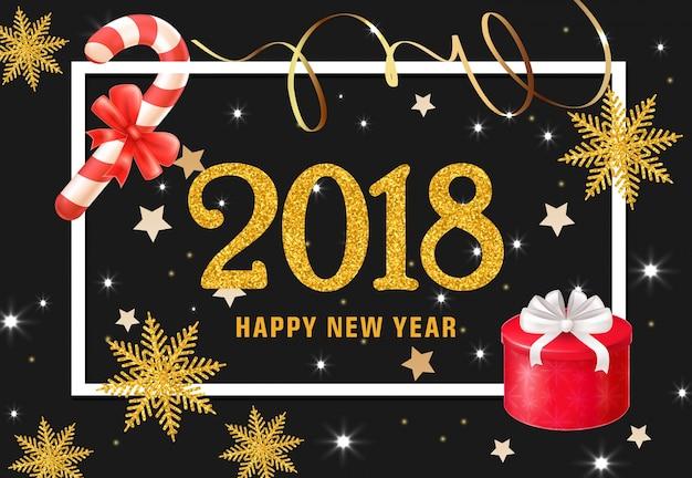 Felice anno nuovo lettering con presente e caramelle