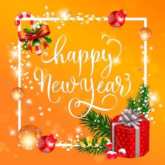 Felice anno nuovo lettering con regalo