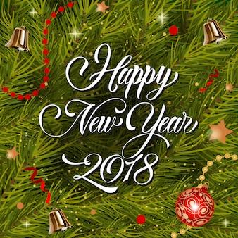 Felice anno nuovo lettering e bauble